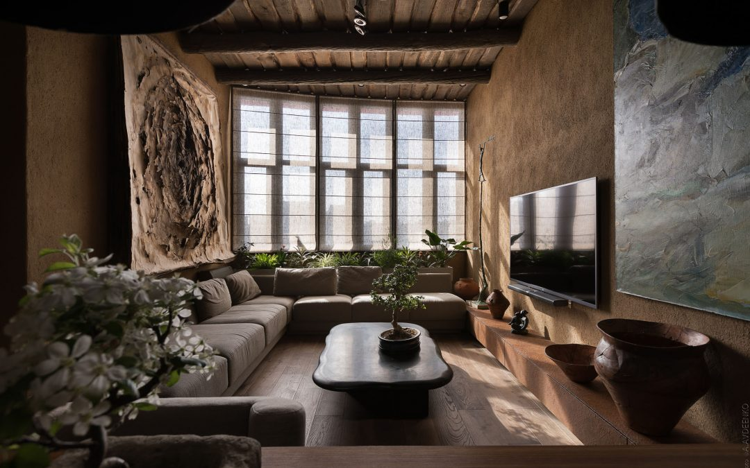 Wabi-Sabi Apartment Design With Grey Roman Blinds