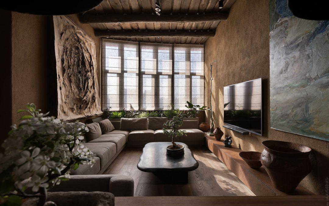 BlindCraft - Wabi-Sabi Apartment Design With Grey Roman Blinds