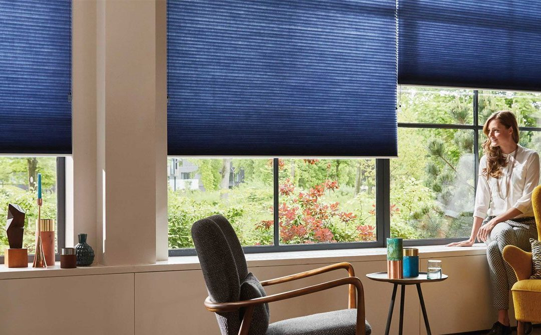blue_cellular_blinds_modern_louge_woman_sitting_on_window_sill