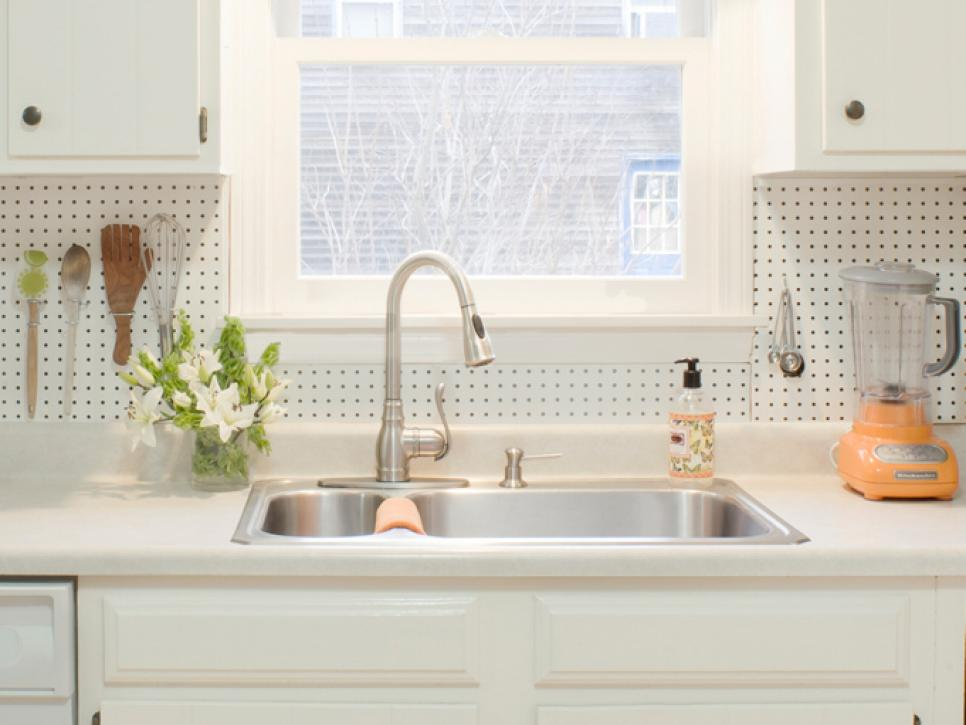 country kitchen with pegboard backsplash