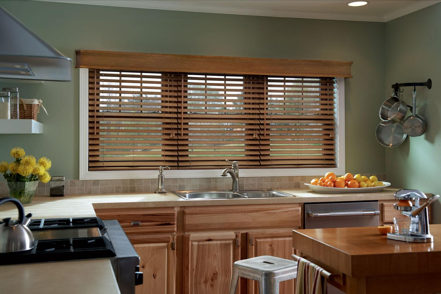 country kitchen with wooden blinds