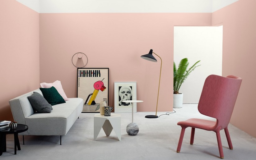 Millennial pink wall in lounge