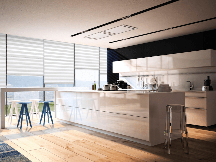 White kitchen with roller blinds blindcraft