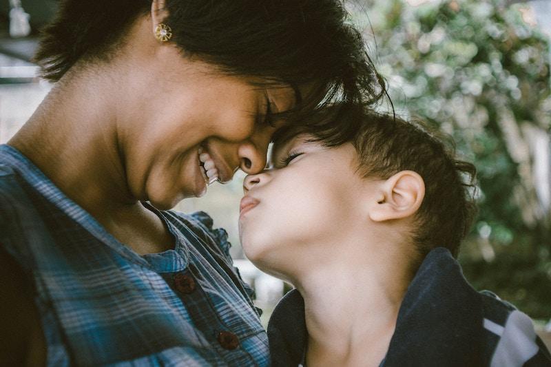 mom and son smiling together blindcraft